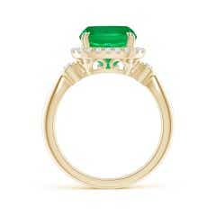Toggle GIA Certified Cushion Colombian Emerald Tapered Shank Ring