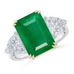 GIA Certified Emerald Ring with Trillion Side Diamonds