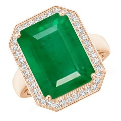 GIA Certified Octagonal Emerald Ring with Diamonds