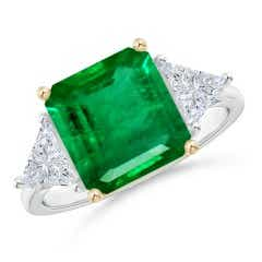 GIA Certified Emerald Three Stone Ring with Diamonds