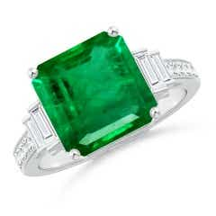 GIA Certified Emerald Ring with Baguette Diamonds