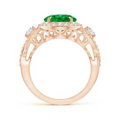 Toggle GIA Certified Oval Emerald Crossover Shank Halo Ring