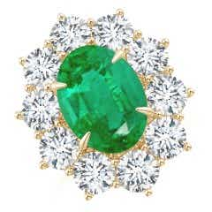 Claw-Set GIA Certified Oval Emerald Floral Halo Ring