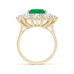 Toggle Claw-Set GIA Certified Oval Emerald Floral Halo Ring