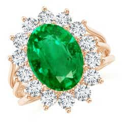 GIA Certified Emerald Triple Shank Floral Halo Ring