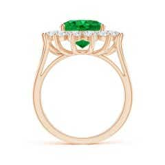 Toggle GIA Certified Emerald Triple Shank Floral Halo Ring