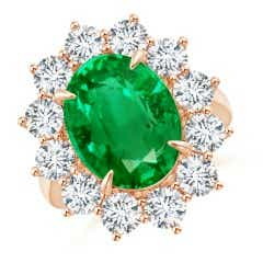 Vintage Inspired GIA Certified Oval Emerald Halo Ring