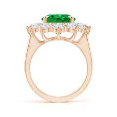 Toggle Vintage Inspired GIA Certified Oval Emerald Halo Ring