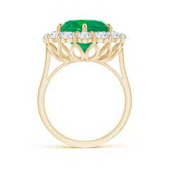 Toggle Classic GIA Certified Oval Emerald Ring with Diamond Halo
