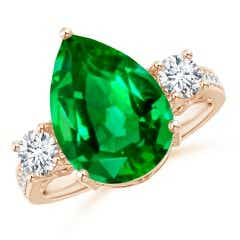 GIA Certified Pear Colombian Emerald Ring with Diamonds