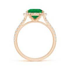 Toggle Cathedral Style GIA Certified Pear-Shaped Emerald Halo Ring
