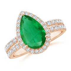 GIA Certified Pear-Shaped Emerald Double Shank Ring