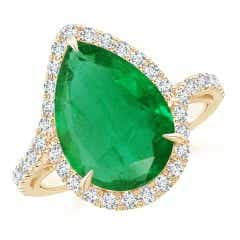 GIA Certified Emerald Bypass Ring with Diamond Halo