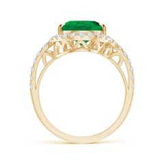 Toggle GIA Certified Emerald Bypass Ring with Diamond Halo