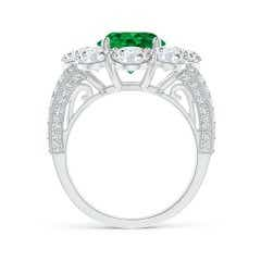 Toggle Classic GIA Certified Emerald Floral Halo Ring