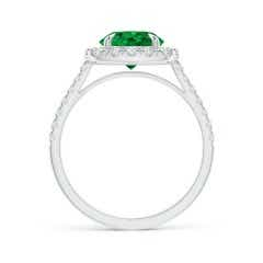 Toggle Classic GIA Certified Emerald Cushion Halo Ring