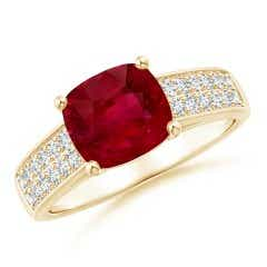 GIA Certified Cushion Ruby Ring with Diamond Double Row
