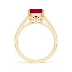 Toggle GIA Certified Cushion Ruby Ring with Diamond Double Row