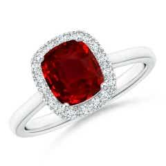 Classic GIA Certified Cushion Ruby Halo Ring