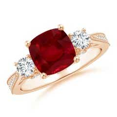GIA Certified Cushion Ruby Three Stone Ring with Diamonds