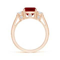 Toggle GIA Certified Cushion Ruby Three Stone Ring with Diamonds