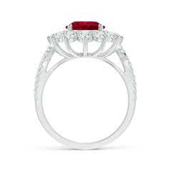 Toggle GIA Certified Oval Ruby Split Shank Ring with Floral Halo