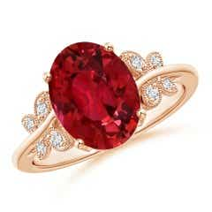 GIA Certified Oval Ruby Butterfly Bypass Ring