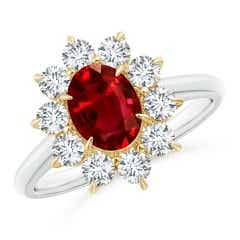 Two Tone GIA Certified Oval Ruby Floral Halo Ring