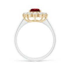 Toggle Two Tone GIA Certified Oval Ruby Floral Halo Ring