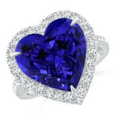 GIA Certified Heart-Shaped Tanzanite Ring with Diamond Halo