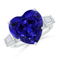GIA Certified Tanzanite Heart Ring with Baguette Diamonds