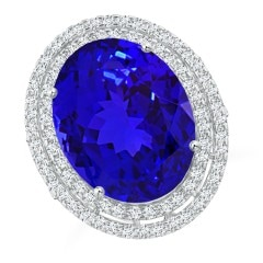 Angara Tanzanite Ring - Sideways GIA Certified Oval Tanzanite Double Halo Ring yUX1DfAFtZ