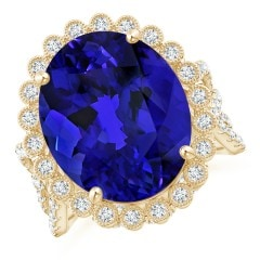 GIA Certified Oval Tanzanite Crossover Halo Ring