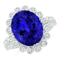 GIA Certified Oval Tanzanite Ring with Bezel Diamond Halo