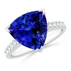 GIA Certified Trillion Tanzanite Ring with Diamonds
