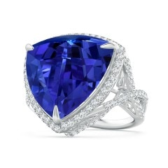 GIA Certified Trillion Tanzanite Ring with Diamond Halo