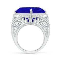 Toggle GIA Certified Triangular Tanzanite Ring with Diamond Halo