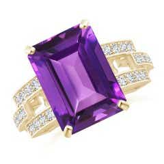 Classic Emerald-Cut Amethyst Solitaire Ring with Diamonds