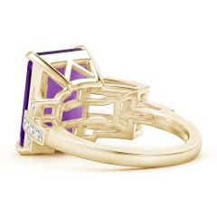 Toggle Classic Emerald-Cut Amethyst Solitaire Ring with Diamonds