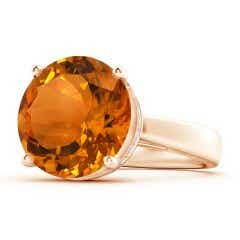 Classic GIA Certified Round Citrine Solitaire Ring