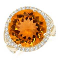GIA Certified Round Citrine Braided Shank Halo Ring