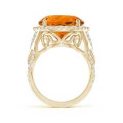 Toggle GIA Certified Round Citrine Braided Shank Halo Ring