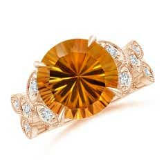 Nature Inspired GIA Certified Citrine Ring with Leaf Motifs