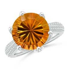 Nature Inspired GIA Certified Round Citrine Floral Ring