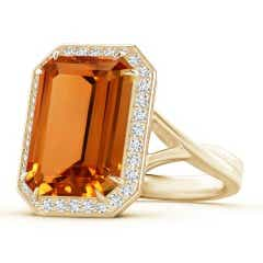 Emerald-Cut Citrine and Diamond Crossover Ring