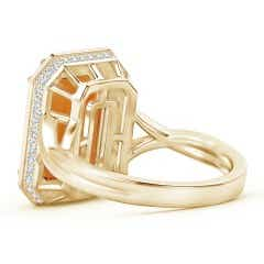 Toggle Emerald-Cut Citrine and Diamond Crossover Ring
