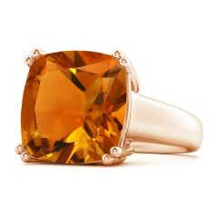 Solitaire Cushion Citrine Tapered Shank Ring