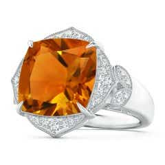 Art Deco Inspired Cushion Citrine Ring with Leaf Motifs