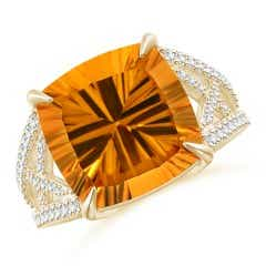 Classic GIA Certified Cushion Citrine Crossover Shank Ring