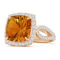 Vintage Style GIA Certified Cushion Citrine Split Shank Ring
